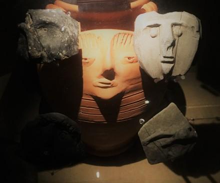 roman faces pottery